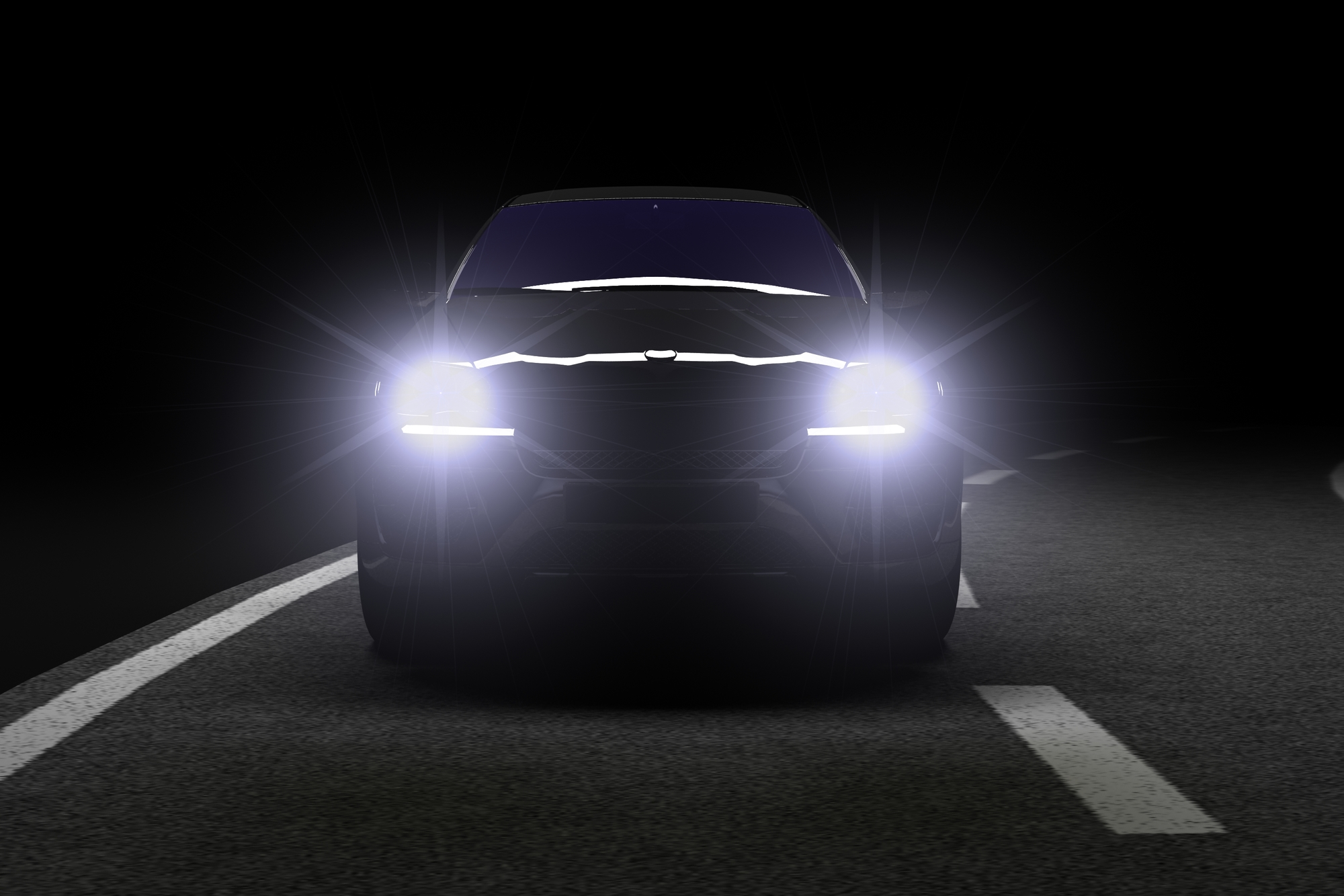 Car silhouette with shiny best led headlights in black night