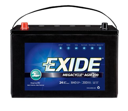 exide car battery review. Exide MC-31 MEGACYCLE AGM-200 Sealed Maintenance Free (AGM) Marine Battery
