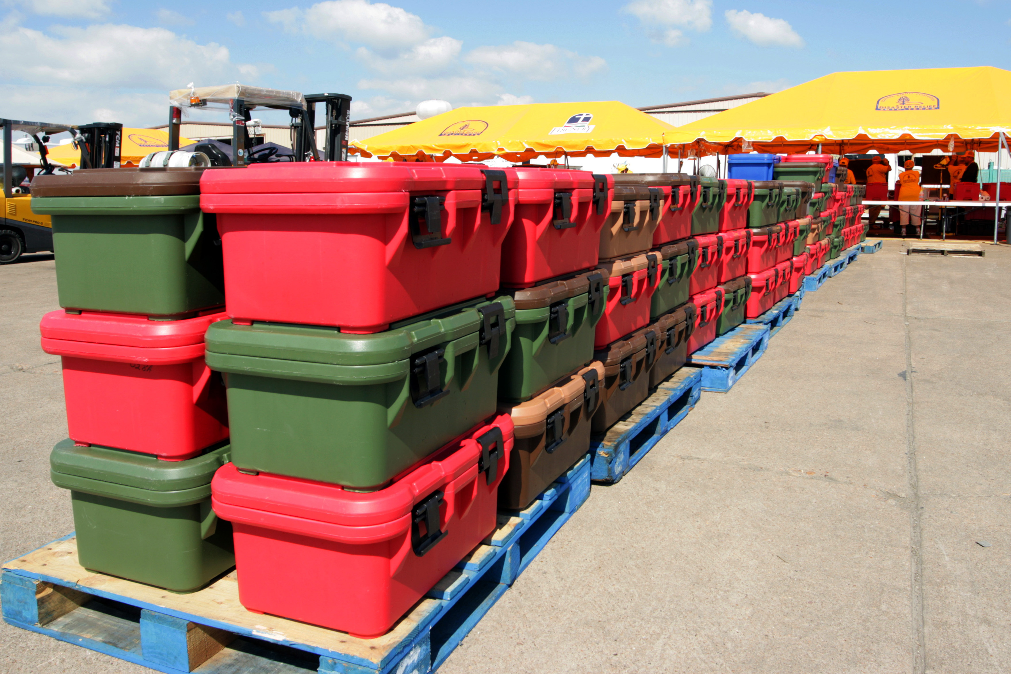 a row of stack bins