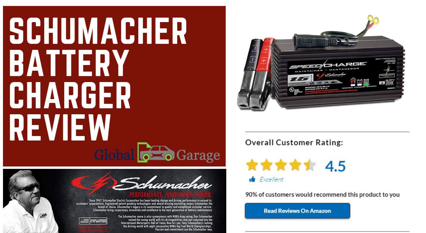 schumacher battery charger review features a 6-volt and 12-volt battery charger; automatically changes from full-charge to float-mode monitoring to prevent overcharging
