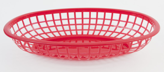 Empty red plastic restaurant serving basket in white background
