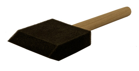 Foam brush with wooden handle side view