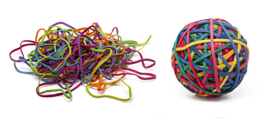 elastic rubber band ball and a unordered pile
