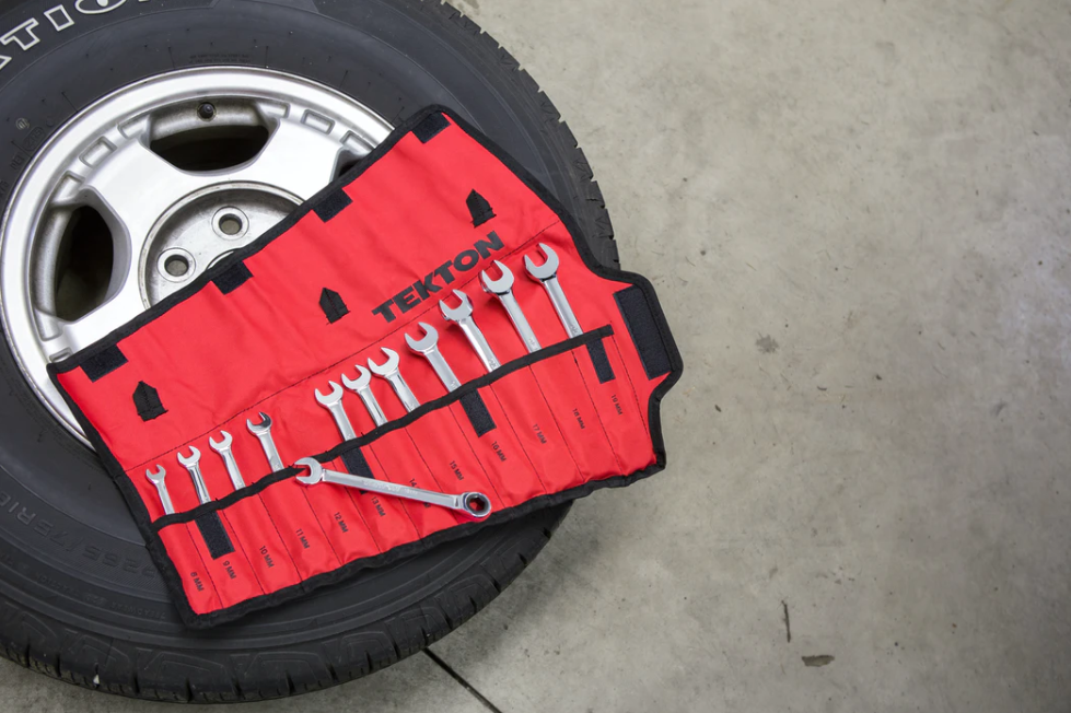 Tire shown with tools on it during a rotation